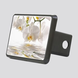 White Orchids Rectangular Hitch Cover