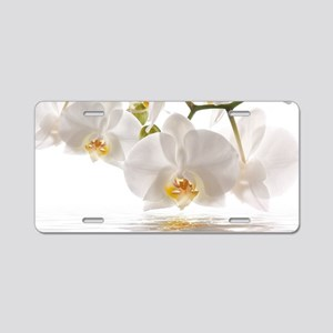 White Orchids Aluminum License Plate