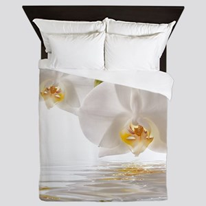 White Orchids Queen Duvet