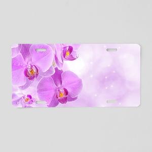 Purple Orchids Aluminum License Plate