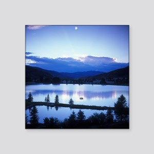 "Mountain Lake Square Sticker 3"" x 3"""