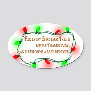Elfing Christmas Oval Car Magnet