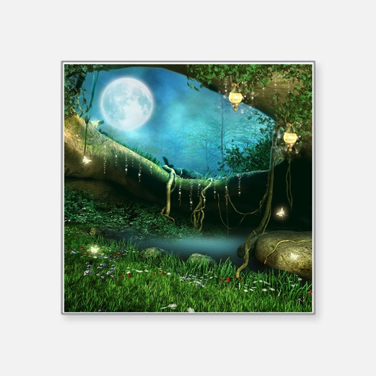 "Enchanted Forest Square Sticker 3"" x 3"""