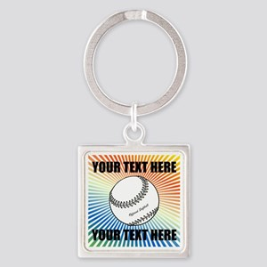 Personalized Softball Square Keychain
