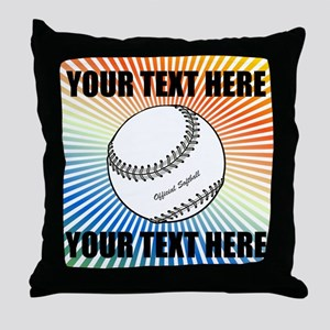 Personalized Softball Throw Pillow