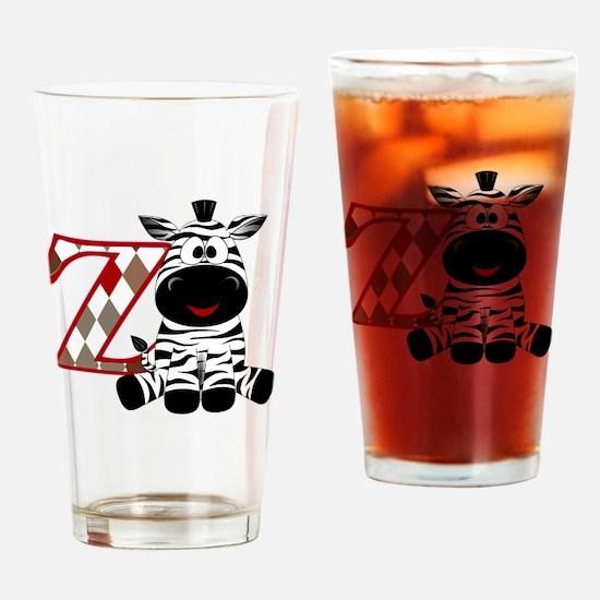 Z is for Zebra Drinking Glass