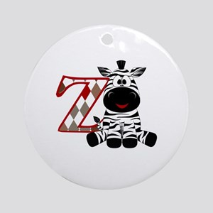Z is for Zebra Round Ornament