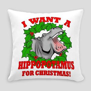 Hippopotamus for Christmas Everyday Pillow