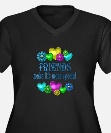 Friends More Women's Plus Size V-Neck Dark T-Shirt