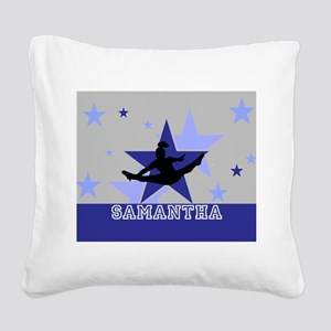 Blue and Gray Cheerleader Square Canvas Pillow