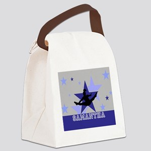 Blue and Gray Cheerleader Canvas Lunch Bag