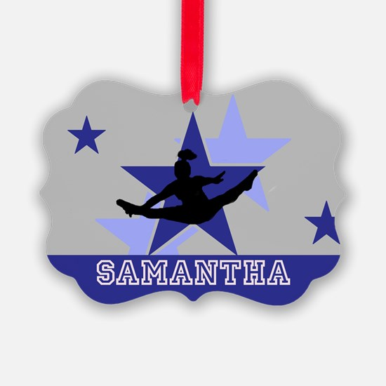 Blue and Gray Cheerleader Ornament