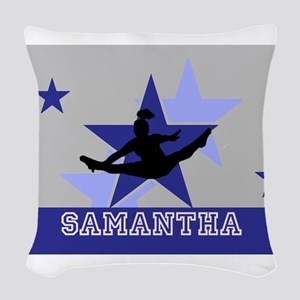 Blue and Gray Cheerleader Woven Throw Pillow