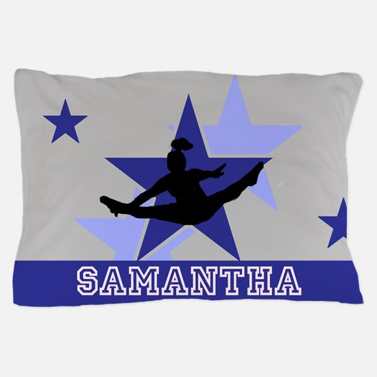 Blue and Gray Cheerleader Pillow Case