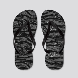 Gray Striped Camo Flip Flops