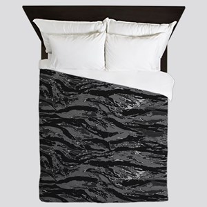 Gray Striped Camo Queen Duvet