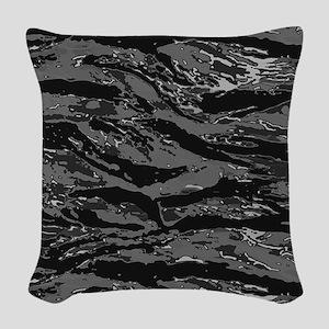 Gray Striped Camo Woven Throw Pillow