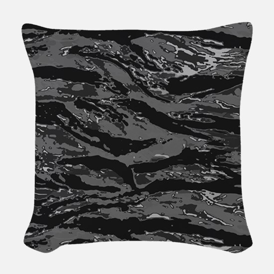 Gray Striped Camo Woven Throw Pillow