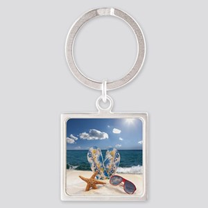 Summer Beach Vacation Square Keychain