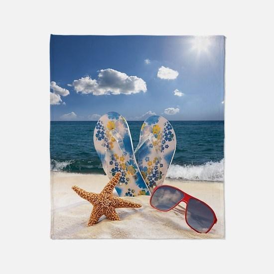Summer Beach Vacation Throw Blanket