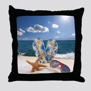 Summer Beach Vacation Throw Pillow