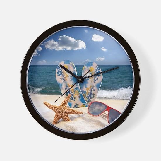 Summer Beach Vacation Wall Clock