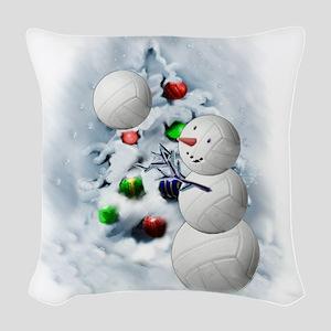 Volleyball Snowman xmas Woven Throw Pillow