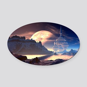 Alien Planet Oval Car Magnet
