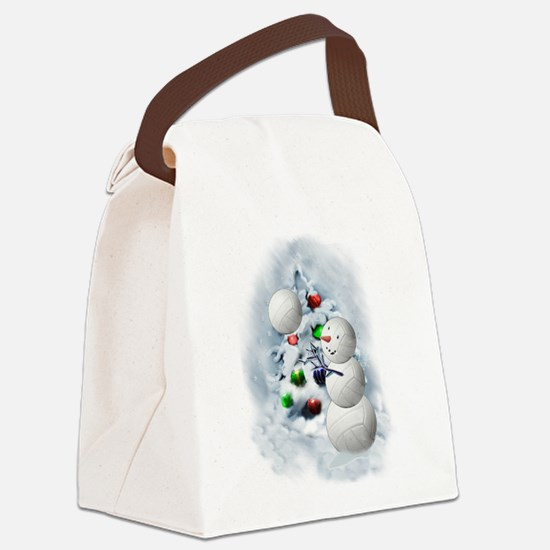 Volleyball Snowman xmas Canvas Lunch Bag