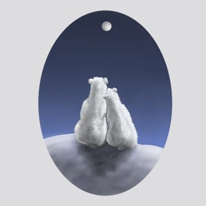Polar Bears by Moonlight Oval Ornament