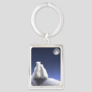 Polar Bears by Moonlight Portrait Keychain