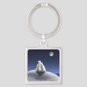 Polar Bears by Moonlight Square Keychain