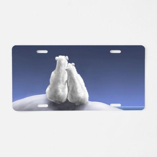 Polar Bears by Moonlight Aluminum License Plate