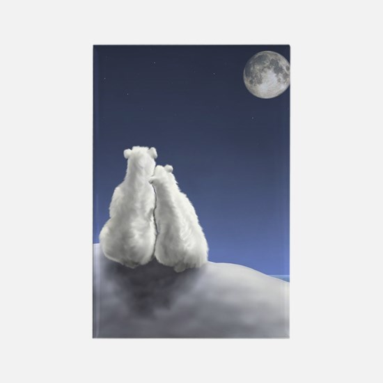 Polar Bears by Moonlight Rectangle Magnet