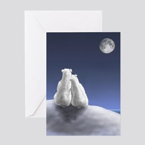 Polar Bears by Moonlight Greeting Card