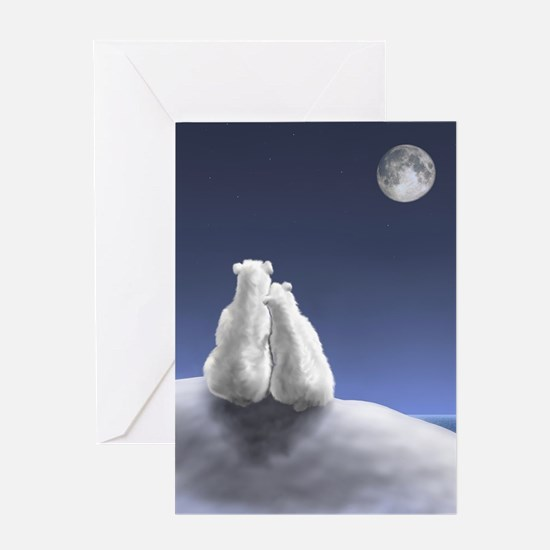 Polar Bears by Moonlight Greeting Card