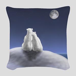 Polar Bears by Moonlight Woven Throw Pillow