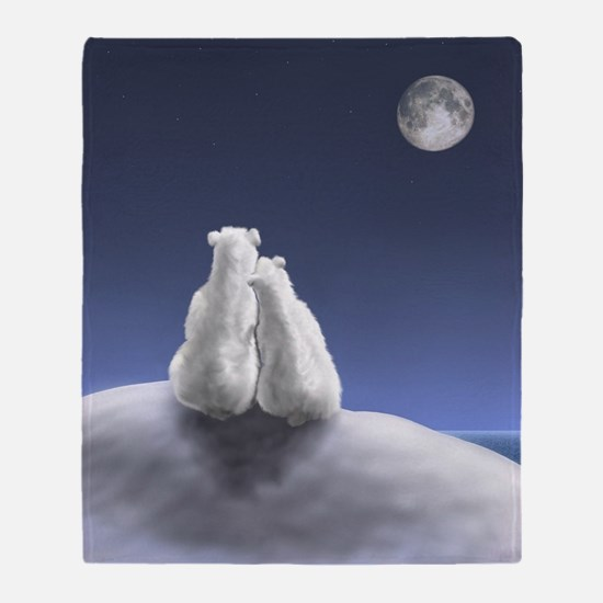 Polar Bears by Moonlight Throw Blanket