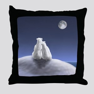 Polar Bears by Moonlight Throw Pillow
