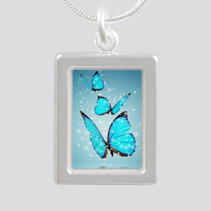 Magic Butterflies Silver Portrait Necklace