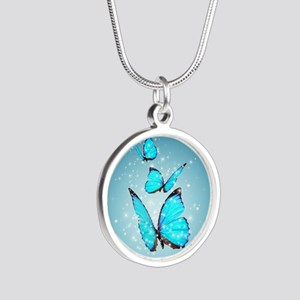Magic Butterflies Silver Round Necklace