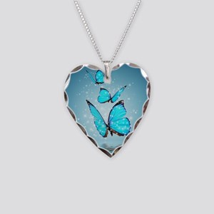 Magic Butterflies Necklace Heart Charm