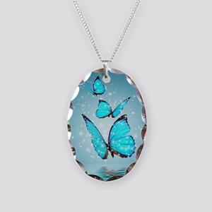 Magic Butterflies Necklace Oval Charm