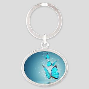 Magic Butterflies Oval Keychain