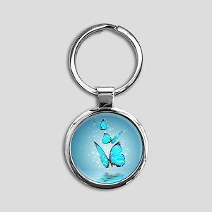 Magic Butterflies Round Keychain