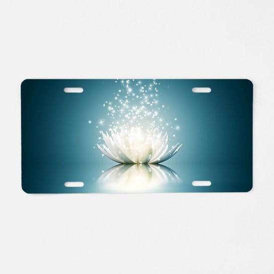 White Lotus Magic Aluminum License Plate