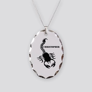 Personalized Black Scorpion Necklace Oval Charm