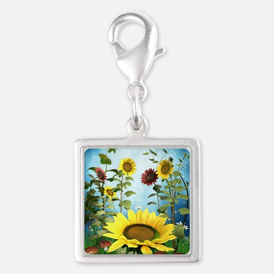 Sunflowers Silver Square Charm