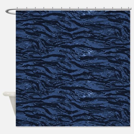 Blue Striped Camo Shower Curtain