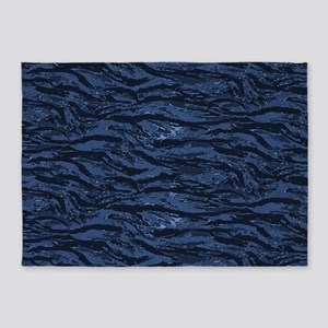 Blue Striped Camo 5'x7'Area Rug